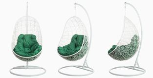 Garden wicker furniture. Hanging swing with stand and soft pillow. Set of three angles on a white background. Garden wicker furniture. Hanging swing with stand royalty free illustration