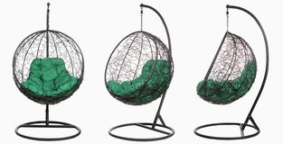 Garden wicker furniture. Hanging swing with stand and soft pillow. Set of three angles on a white background. Garden wicker furniture. Hanging swing with stand stock illustration