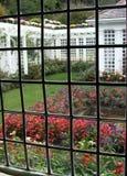 Garden Window. View of a beautiful garden through leaded glass window Stock Photos