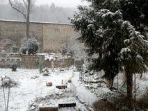 Garden in the winter. Winter landscape garden. Snow in the garden. Yew in  garden. Quiet atmosphere Stock Photography