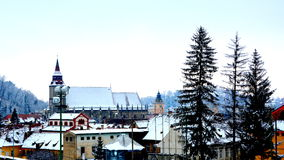Garden in winter. Typical urban landscape of the city Brasov, Transylvania Brasov is a town situated in Transylvania, Romania, in Royalty Free Stock Photography