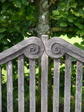 Garden: wooden bench detail royalty free stock images