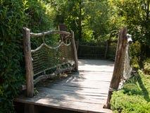Garden wooden bridge Royalty Free Stock Photo