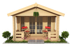 Garden wooden cabin garden house. Isolated on white background - 3D illustration Royalty Free Stock Photos