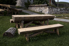 Garden wooden table and bench Stock Photo