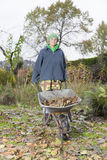 Garden work. Woman working in autumn garden . cleaning the garden from foliage, autumn leaves Royalty Free Stock Photos