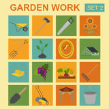 Garden work icon set. Working tools Royalty Free Stock Photography