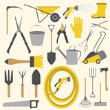 Garden work icon set. Working tools Stock Images
