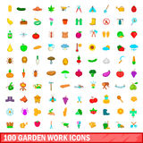 100 garden work icons set, cartoon style. 100 garden work icons set in cartoon style for any design vector illustration Stock Photography