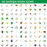 100 garden work icons set, cartoon style. 100 garden work icons set in cartoon style for any design illustration vector illustration