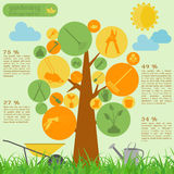 Garden work infographic elements. Working tools set. Stock Photos