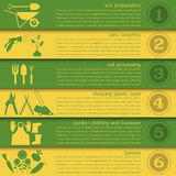 Garden work infographic elements. Working tools set. Stock Photography