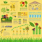 Garden work infographic elements. Working tools set. Stock Images