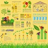Garden work infographic elements. Working tools set. Vector illustration Stock Images