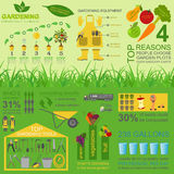 Garden work infographic elements. Working tools set. Vector illustration Stock Photography