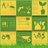 Garden work infographic elements. Working tools set. Royalty Free Stock Photography