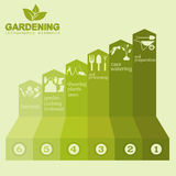 Garden work infographic elements. Working tools set. Vector illustration Royalty Free Stock Image