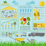Garden work infographic elements. Working tools set Stock Photos