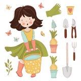 GARDEN WORK Spring Season Care Detail Vector Illustration Set stock illustration