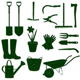 Garden work tools green&white Royalty Free Stock Photo