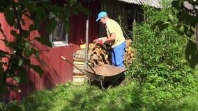 Garden worker man boy unload firewood wood from rusty wheelbarrow. 4K stock video footage