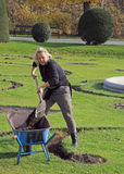 Garden workers are digging in park of Vienna, Austria Stock Photos