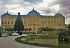 Garden of Wuerzburg residence on rainy day Royalty Free Stock Images