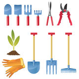 Garden02. Icon set inventory and tools for garden care Stock Photo