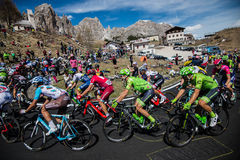 Gardena, Italy May 21, 2016; Group of professional cyclists during the very hard climb of Passo Gardena Royalty Free Stock Photos