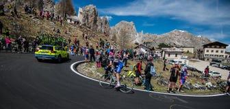 Gardena, Italy May 21, 2016; Professional cyclist during the very hard climb of Passo Gardena Stock Image