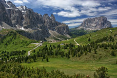Gardena Pass. High mountain pass in South Tyrol in Italy Stock Photography