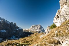 Gardena Pass with Sassolungo Stock Photo