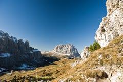 Gardena Pass with Sassolungo Stock Photo