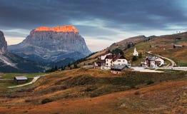 Gardena valley and Sassolungo. Royalty Free Stock Images