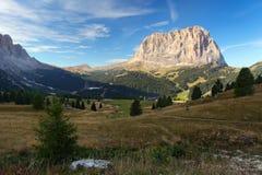 Gardena valley and Sassolungo - Italy Stock Image
