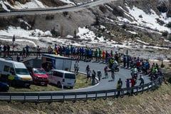 Gardena, Włochy Maj 21, 2016; Grupa fachowi cykliści podczas bardzo ciężkiej wspinaczki Passo Gardena Obrazy Stock