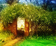 gardenenchanted的被迷惑的庭院 库存图片