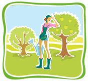 Gardener. The girl with a watering can in a garden royalty free illustration