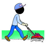 Gardener. Silhouette-man at work - Gardener with a mowing machine cutting grass Stock Photography