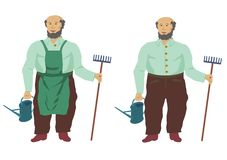Gardener. With watering can and rake, with and without apron stock illustration