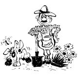 Gardener. Sketch with the gardener and his dog Royalty Free Stock Photo