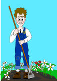 Gardener. A happy gardener hoeing between some flowers Stock Photos