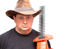 The gardener. Gardener holding his hedge trimmers Royalty Free Stock Photography