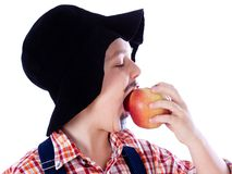 Gardener with apple Stock Images