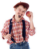 Gardener with apple Royalty Free Stock Images