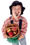 Gardener with apples Stock Photos