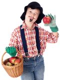 Gardener with apples Stock Image