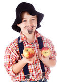 Gardener with apples Stock Images