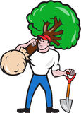 Gardener Arborist Carrying Tree Cartoon Stock Image