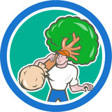 Gardener Arborist Carrying Tree Cartoon Stock Photography
